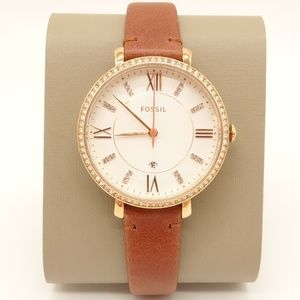 NWT FOSSIL 'Jacqueline' Brown Leather Watch